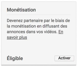 mettre en place monétisation sur une chaine youtube