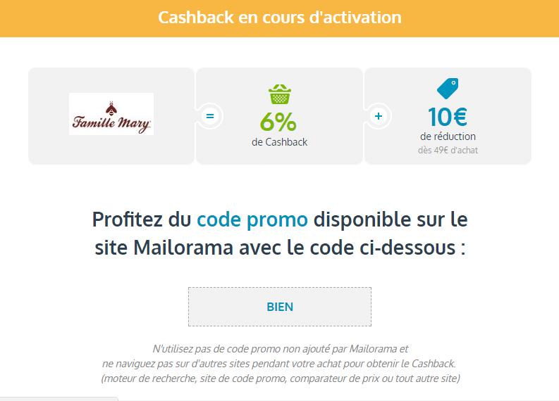 cumuler code promo et cashback mailorama