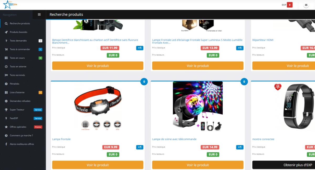 Astuce produit gratuit Amazon 2: Testzon